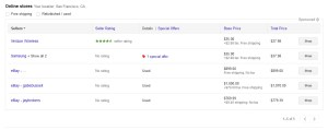 Google Shopping Compare Prices List