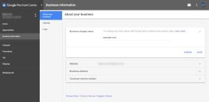 Google Merchant Center Change Store Name