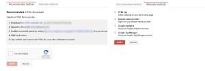 Search Console Verification Methods