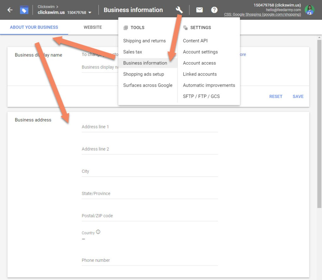 Google Merchant Center About Your Business