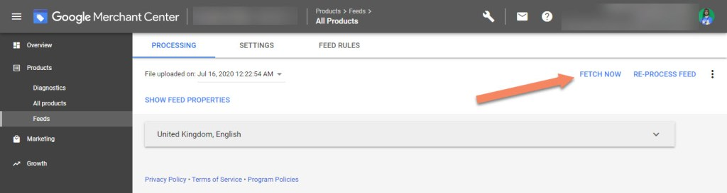 Google Merchant Center Fetch Now