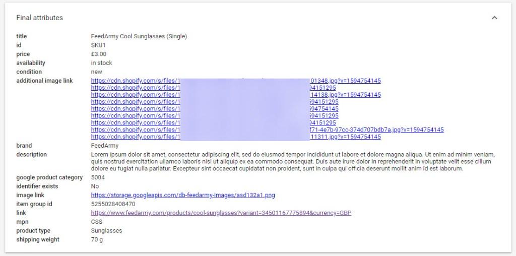 Google Merchant Center Final Attributes