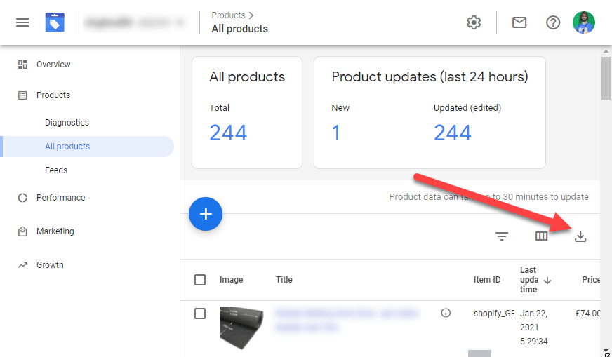 Google Merchant Center Download All Products