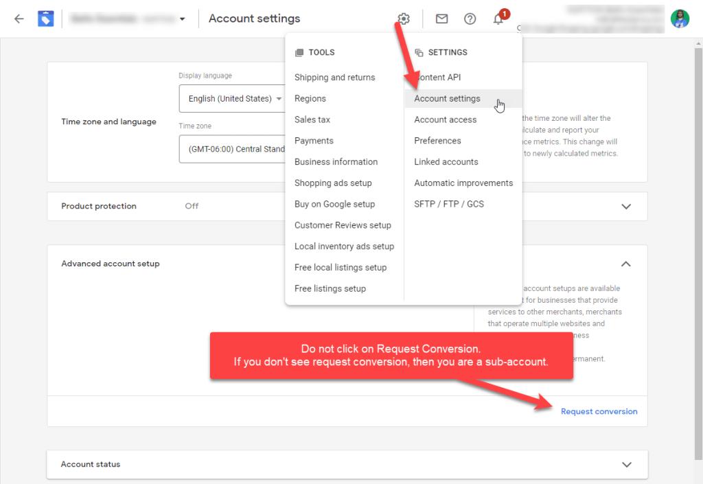 Google Merchant Center Sub Account