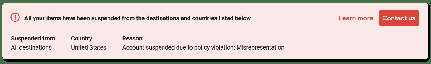 google merchant center suspended