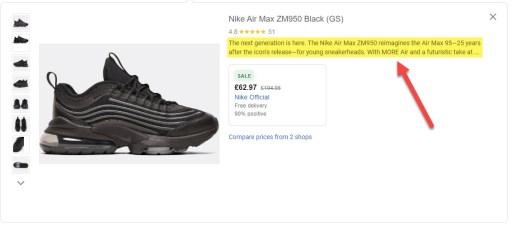 Visible Description Google Shopping