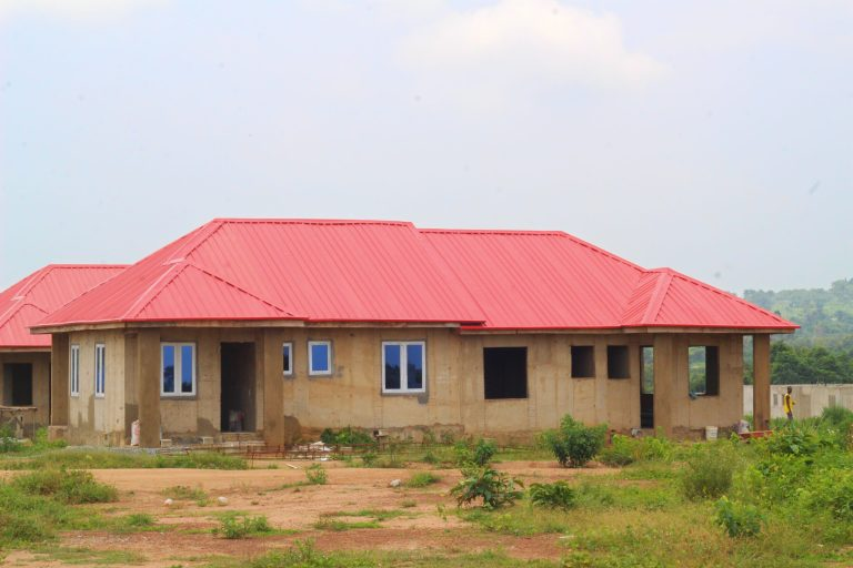 Picture of ongoing construction at Ajoda New Town Estate taken on July 31, 2021