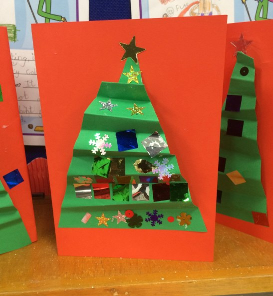 Red Christmas Tree card by Year 3 Primary School Art