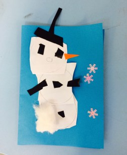 Snow man christmas card by Year 1 Primary School Art