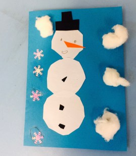 Snowman Christmas card by Year 3 Primary School Art