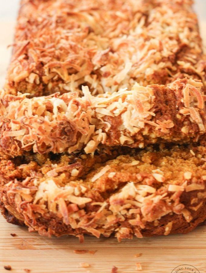 sliced coconut pumpkin bread