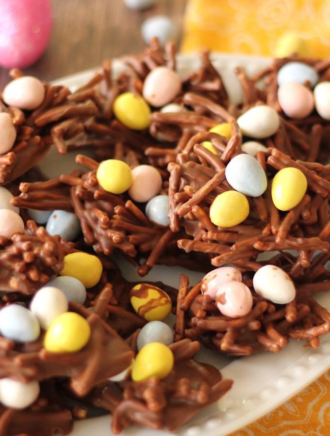 chocolate birds nest cookies