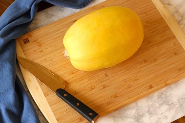 spaghetti squash on a cutting board