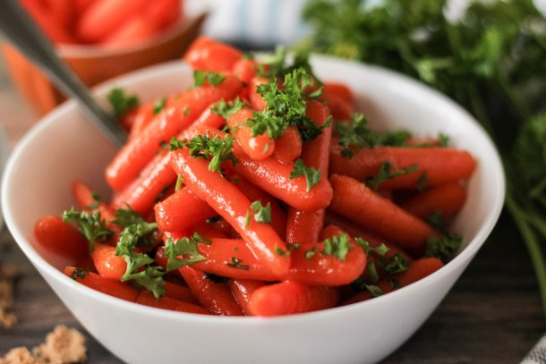 image of glazed carrots topped with parsley