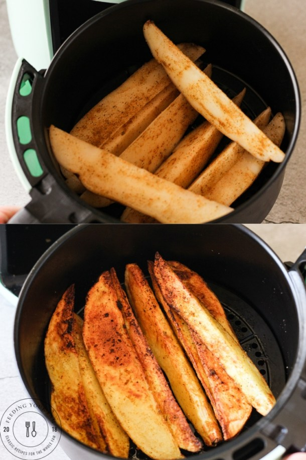 potato wedges in an air fryer basket, top is before cooking, bottom is golden brown