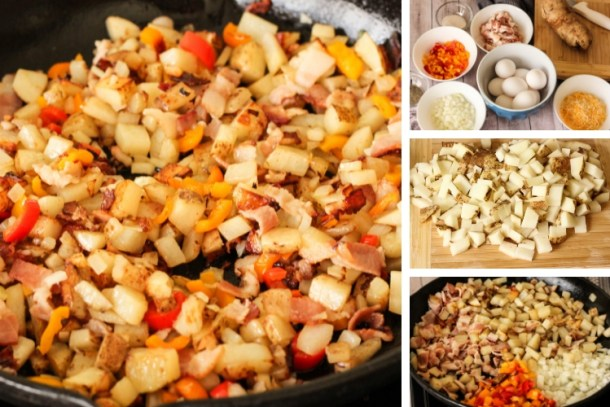 cooked hash on the left with steps on how to make hash on the right