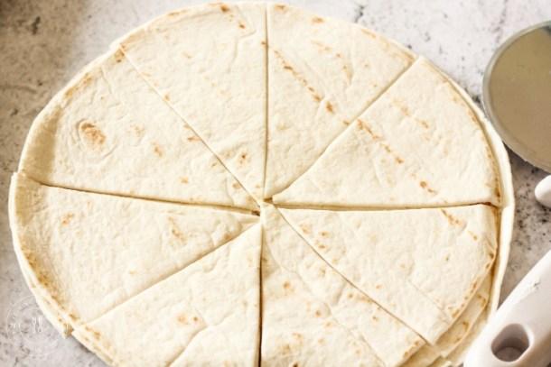 sliced flour tortilla