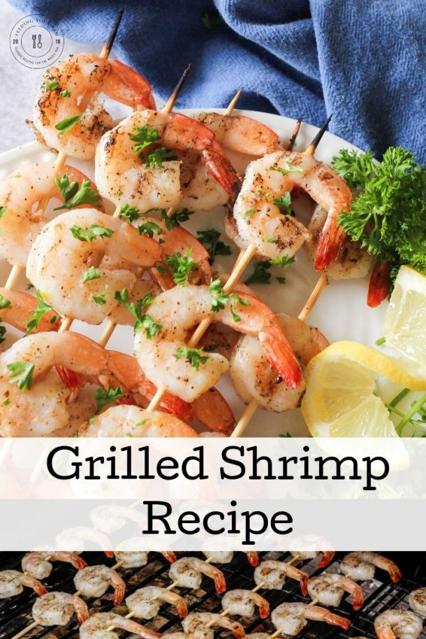 split image of grilled shrimp on a plate and grill with the words grilled shrimp recipe in the center