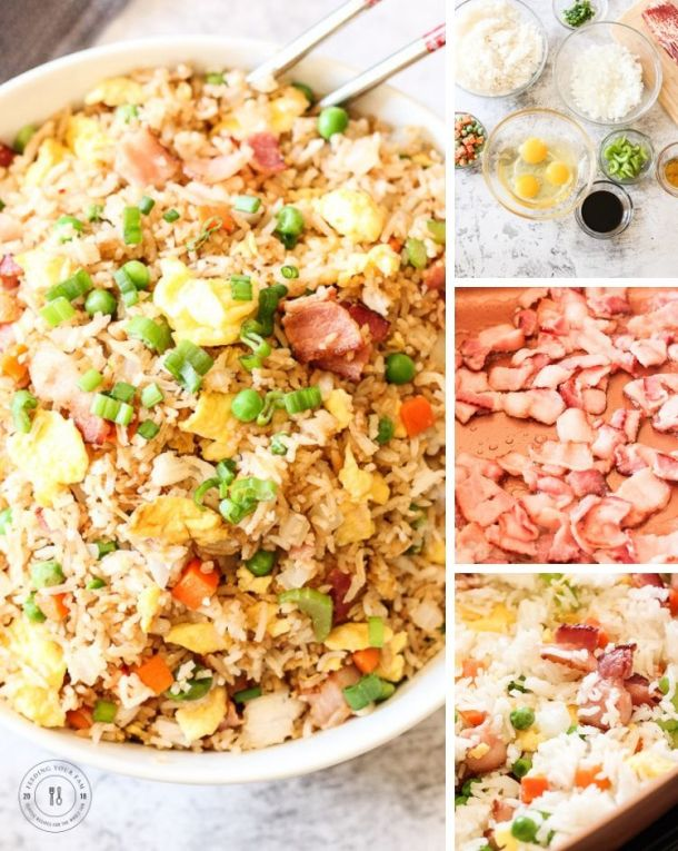 collage of steps to make fried rice