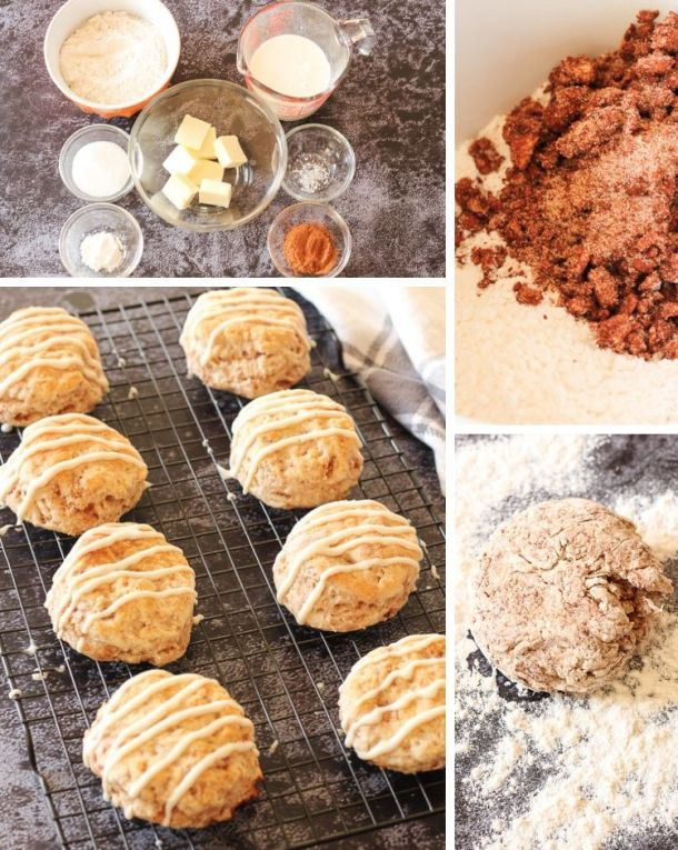 collage of ingredients, dough and cooked biscuits