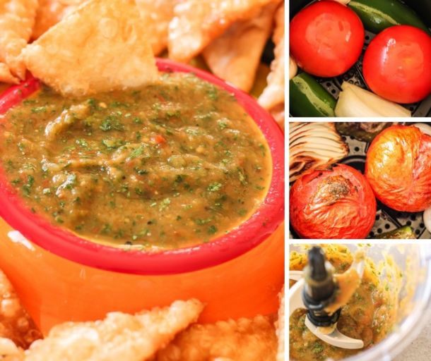 collage of how to make roasted salsa