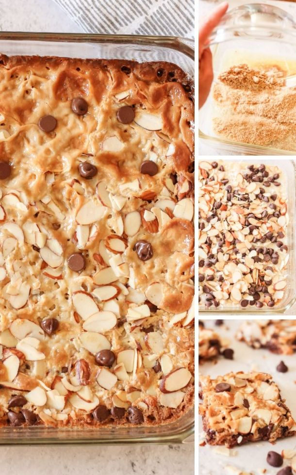 collage of how to make magic cookie bars