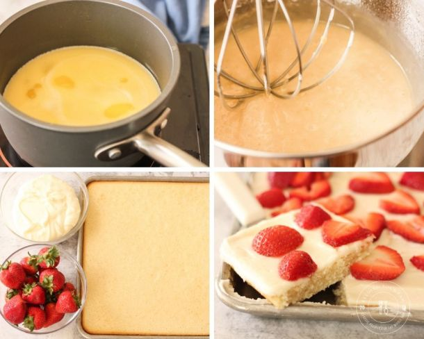 images of steps to make sheet cake