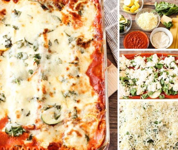 collage of steps for how to make lasagna