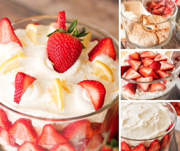 strawberry trifle steps collage