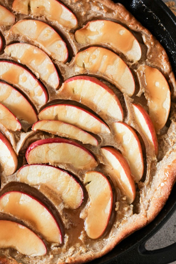 german apple pancakes in a cast iron skillet