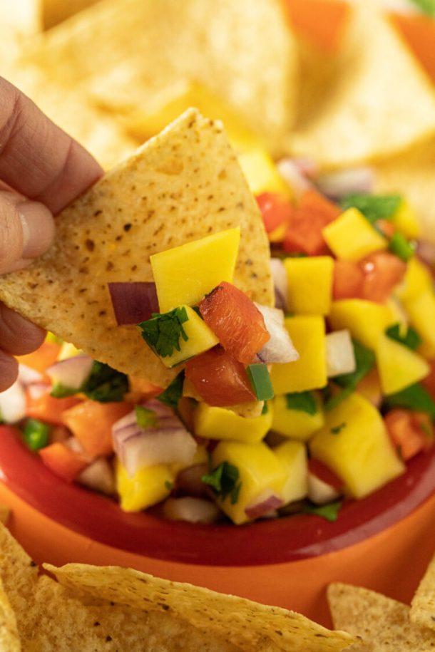 chip with mango salsa