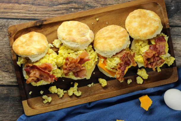 plated biscuit sandwiches
