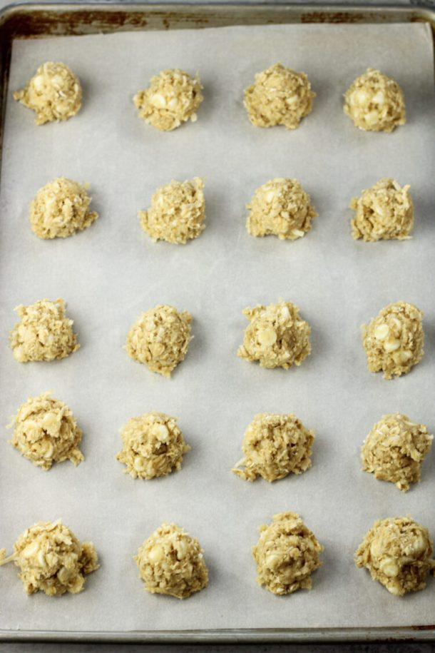 scoops of cookies on a cookie sheet