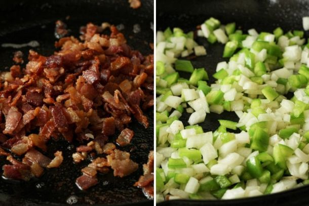 split image, cooked bacon on left, onions and green peppers in a pan on the right