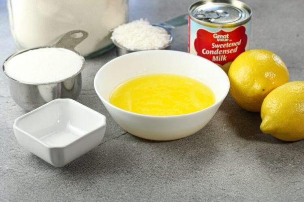 melted butter, flour, sugar, coconut, lemons, salt sweetened condensed milk