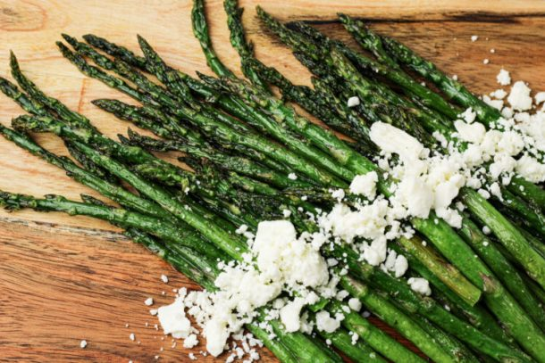 asparagus topped with feta cheese
