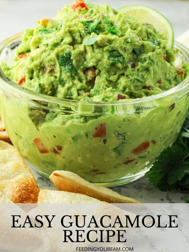 guacamole in a glass bowl with the words easy guacamole underneath