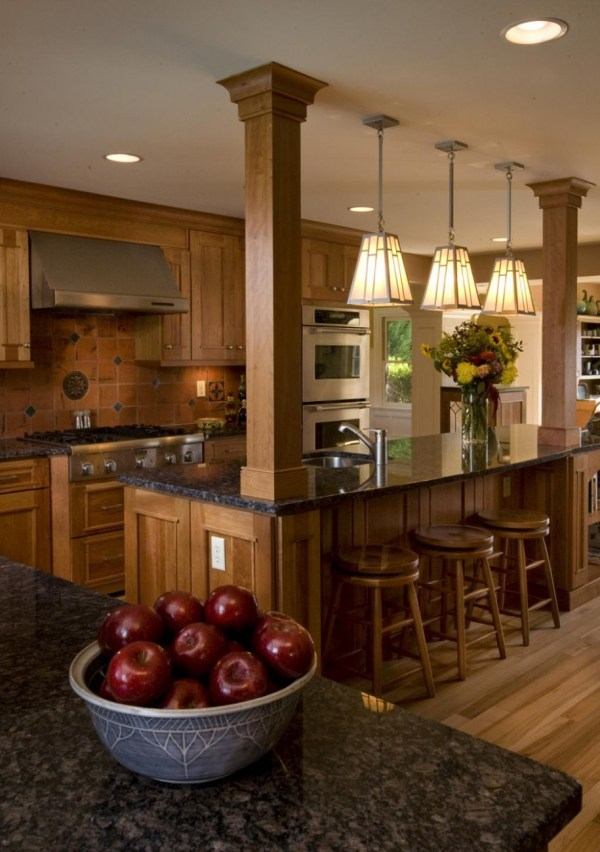 Kitchen Island Designs with Columns
