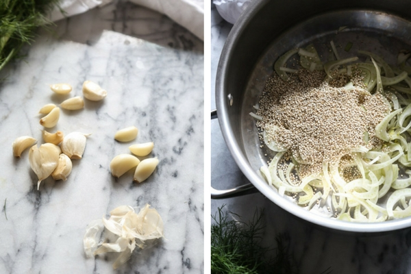 This version of Avgolemono Soup--the classic Greek lemon soup with egg broth--is simmered with fennel, quinoa and shredded chicken. Perfect for cold season! | Feed Me Phoebe