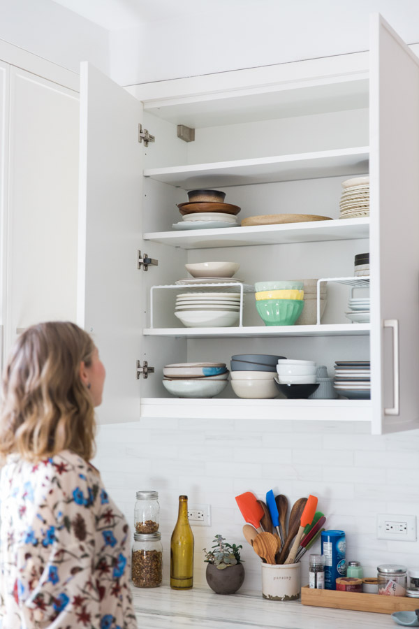 kitchen cabinets pantry commercial cleaning services how to organize your and feed me phoebe plates bowls dishes on a shelf with organizing risers