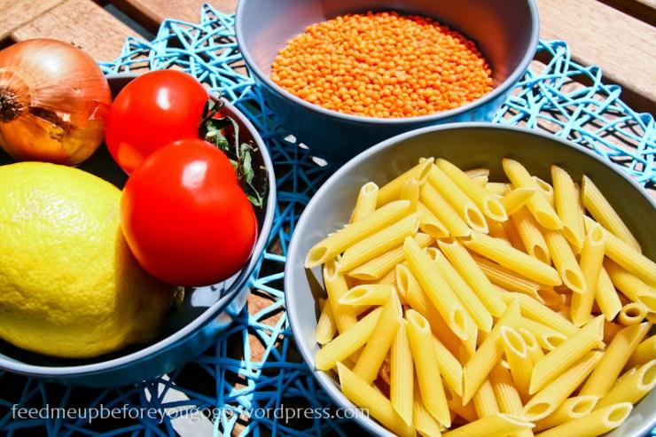 Rigatoni mit Linsen-Zitronen-Sauce