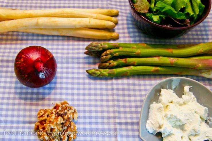 Zutaten Spargelsalat mit Ziegenkäse und karamellisierten Balsamicozwiebeln