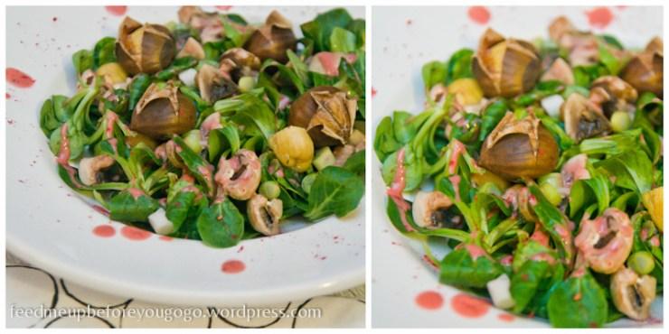 Salat mit Maronen und Himbeerdressing
