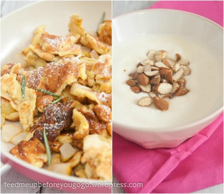 Birnen-Rosmarin-Kaiserschmarren mit Honig-Mandel-Joghurt Rezept Feed me up before you go-go