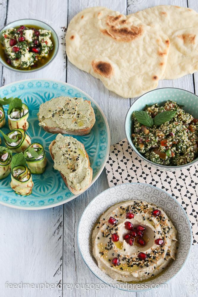 Mezze vegetarisch Quinoa Taboulé eingelegter Feta Pita-3