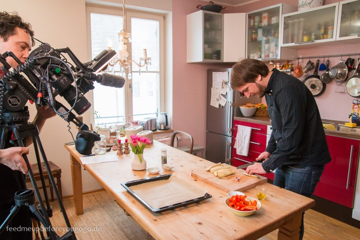 Dreh ZDF Drehscheibe Küchenträume Antipasti-Brotsalat im Glas fürs Büro