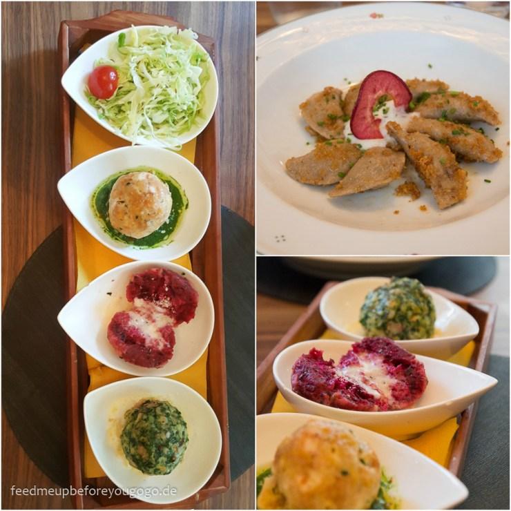 Bozen kulinarisch Wirtshaus Vögele Knödel-Tris Schlutzkrapfen Südtirol Italien