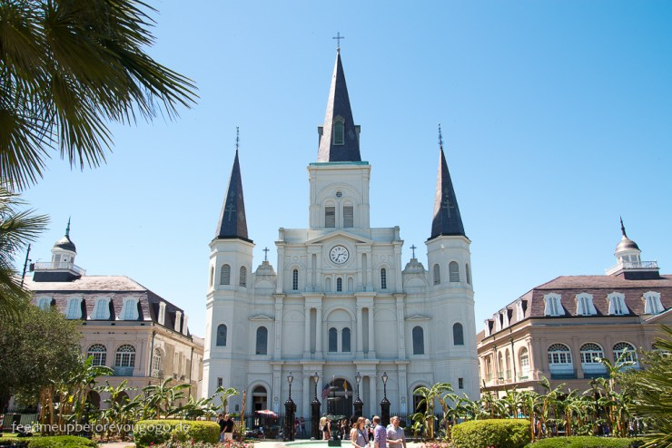 New Orleans St. Louis Cathedral Jackson Square USA Feed me up before you go-go