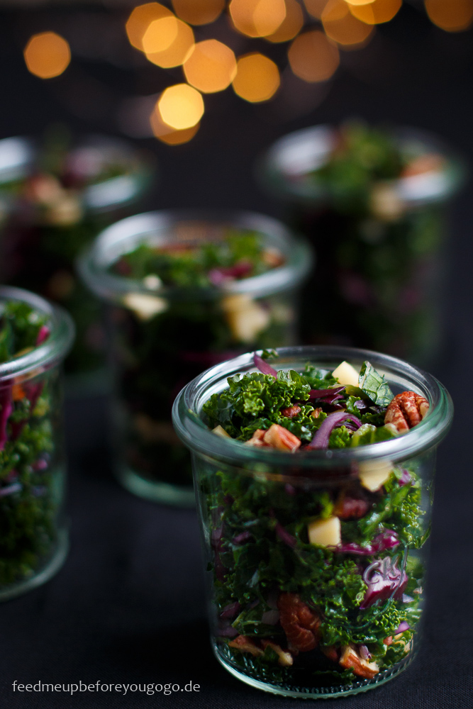 Wintersalat im Glas mit Grünkohl Rezept