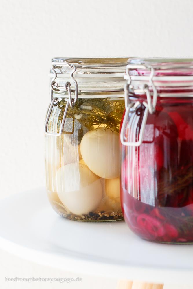 Pickled eggs - zweierlei eingelegte Eier mit Dill und Roter Bete Rezept